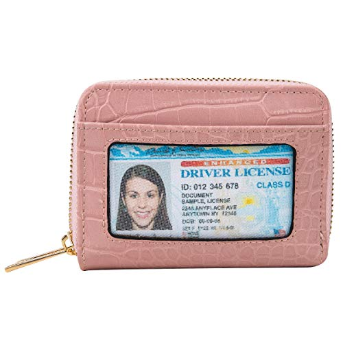 - Heaye Card Case Wallet RFID with ID Window Zipper Animal Alligator Crocodile Small Pink