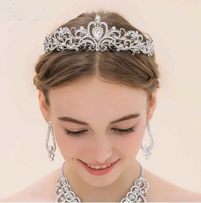 Tiara Corona Diseno Princesa Con Rhinstone Para Peinados Novia