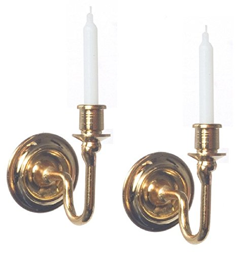 Brass 2 Candle - International Miniatures Dollhouse Miniature 2 Piece Set Candle Sconces in Brass