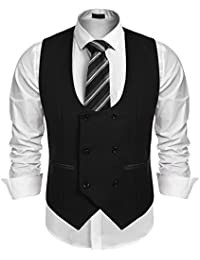 ca72ee7db8135 Men s Slim Fit Sleeveless Suit Vest Double Breasted Business Dress Waistcoat