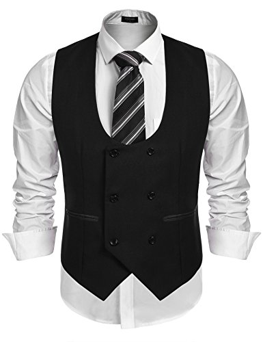 COOFANDY Men's Slim Fit Sleeveless Suit Vest Double Breasted Business Dress Waistcoat