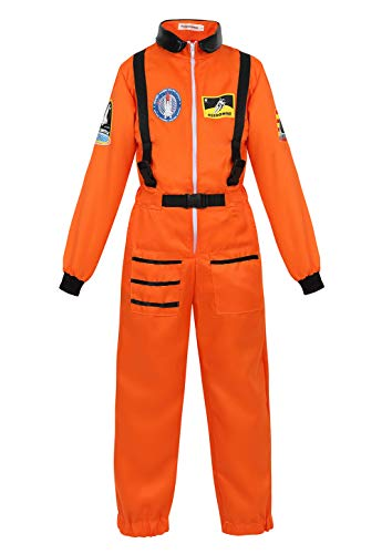 Girls Space Costumes (Kids Astronaut Costume Role Play Set for Boys Girls Toddlers Teens Spaceman Jumpsuit Space Suit Dress up Orange)
