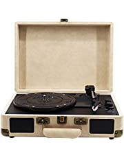 KAAK Personality Simple Beige PU Leather Multi-Function Bluetooth Wooden Phonograph Player Retro Vinyl Record Machine Parlor Gift Ornaments 350 * 255 * 130MM Home
