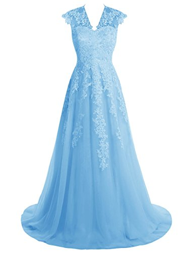 BeryLove Wedding Dress Blue Lace Long Women's Gown Prom Sleeves Cap Appliques afqwParBx