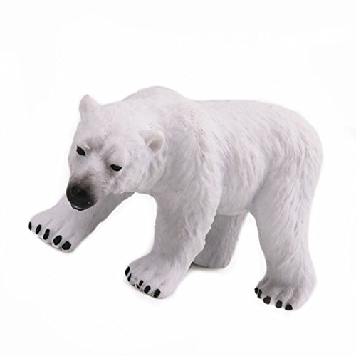 (Reikirc Polar Bear Toy Bauble Polar Bear Animal Wildlife Polar Bear Mini of Zoo Animal Toys or Arctic Animal for Kids Wildlife Wonders – Polar Bear – Realistic Hand Painted Toy Figurine Model – Qual)