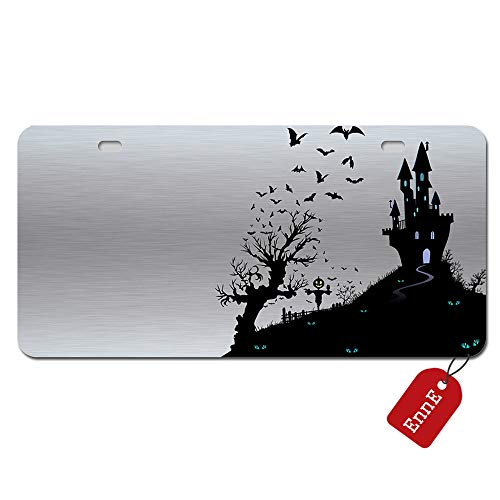 EnnE Personalized Metal License Plate Cover Halloween Bats And Castle For Car 2 Holes Car Tag 11.8 inch X 6.1 inch -