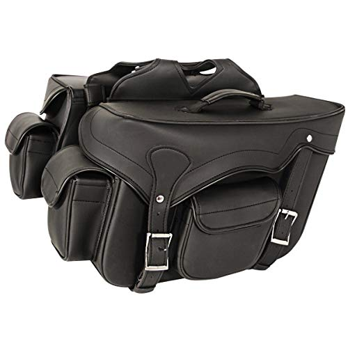 - Milwaukee Performance SH666ZB Black Zip-Off Double Front Pocket PVC Throw Over Saddle Bag with Reflective Piping