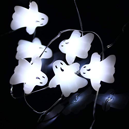 String Lights, LEORX 3 Meters 40 LEDs Ghost String Lights with 7 Modes, Battery Operated, Cool White (Cool White)
