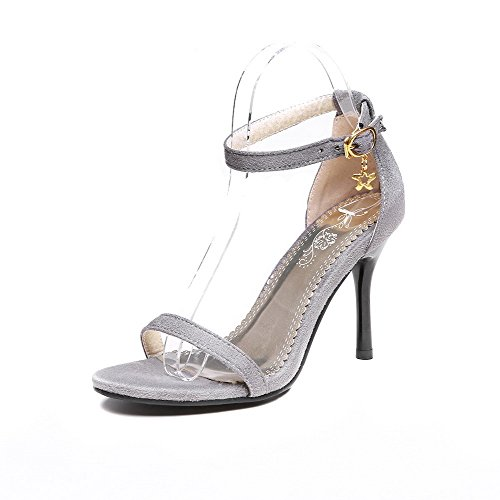 AmoonyFashion Womens Buckle Open-Toe High-Heels Flock Solid Sandals Beige XQT6zU