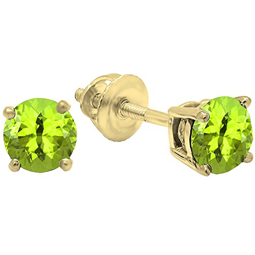 (Dazzlingrock Collection 18K 5.5mm each Round Cut Peridot Ladies Solitaire Stud Earrings, Yellow Gold)