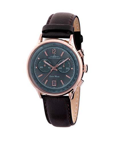 Zeno Pilot Quar Grey Dial Leather Strap Men's Watch ZE5181-3
