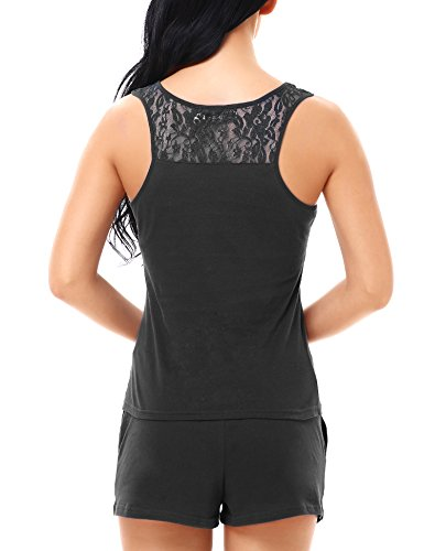 Yulee mujer Conjunto de pijama de algod¨®n Tank Top y pantalones cortos Black
