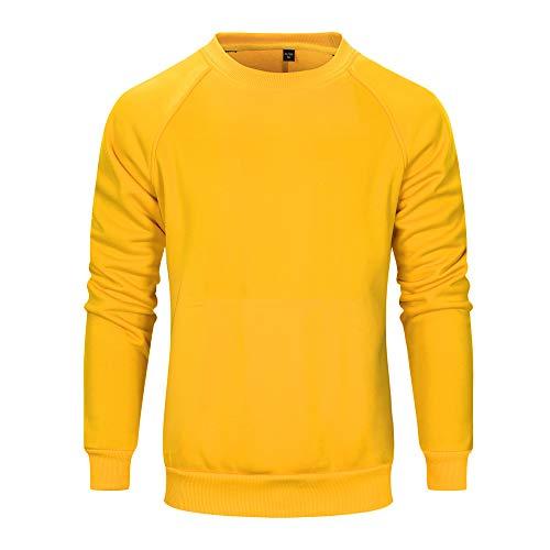 - TOLOER Men's Ultimate Cotton Heavyweight Long Sleeve Crewneck Sweatshirt Yellow Large