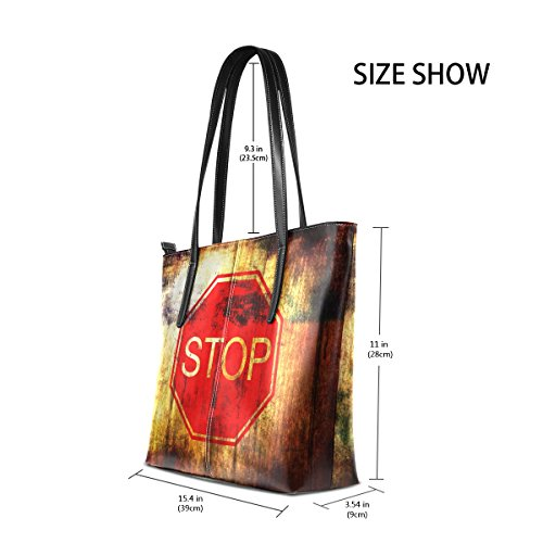 Bags Wood Grunge TIZORAX Sign Handbag Women's Top Fashion Purses Background Stop Totes PU Leather Handle On Shoulder tCHtwnUx6q