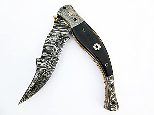 FA-1110, Custom Handmade Damascus Steel Folding Knife – Bull Horn Three Muzike Pin Handle with Damascus Steel Bolster