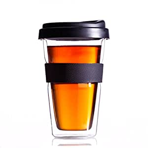 Huswell Insulated Double Wall Glass Coffee Travel Tumbler, 10 oz.