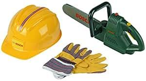 Bosch - Sierra de cadena con casco y guantes de protección (Theo Klein 8435)