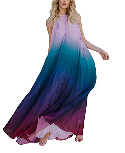 Summer Maxi Dresses for Women, Chiffon Halter Neck Sleeveless Rainbow Color Print Long Party Prom Beach Dress (Purple, L)