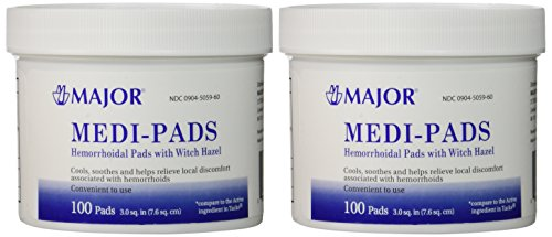 Medi-Pads Maximum Strength With Witch Hazel Hemorrhoidal Hygienic Cleansing Pads 100 Ct Jar Compare to Tucks Pack of 2 Jars Total 200 Pads (2)