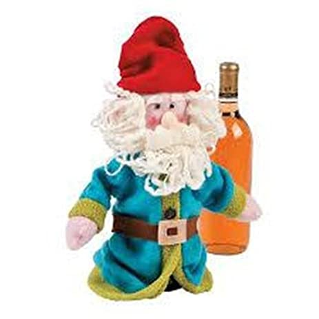 Gnome Fleece Wine Bottle Cover Table Decor Gift Holiday Party Entertain  Accent