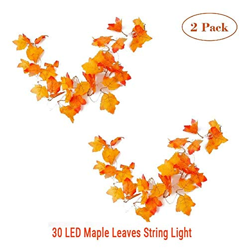 MKLOT 2pc Thanksgiving Decorations Lighted Fall Leaf Garland Halloween Decor String Lights 3M 30 LED Maple Leaves Lighting with 3 AA Battery Operated for Indoor Home Party Christmas Festival (Christmas Decorations Maple Leaf)