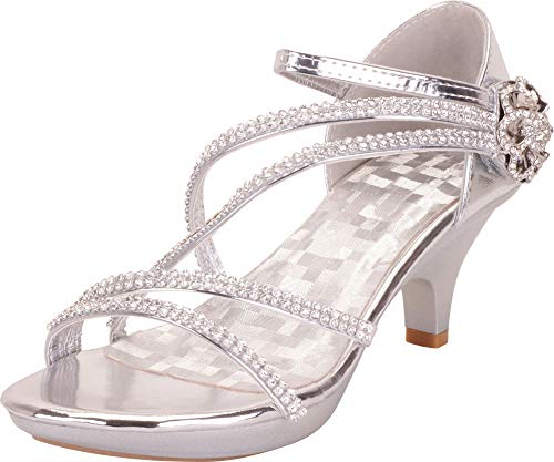 - Cambridge Select Women's Open Toe Crisscross Strappy Crystal Rhinestone Flower Platform Low Kitten Heel Sandal,7 B(M) US,Silver
