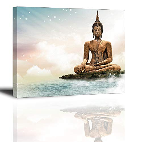The Buddha Wall Art for Bedroom, PIY Ancient Southeast Asia Buddhism Canvas Prints Stretched with Frame, Peaceful Statue Picture Decor (1