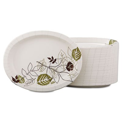 "Dixie Ultra SX11PLPATH Pathways Heavy Weight Oval Paper Platter, 11"" Length x 8.5"" Width (4 Packs of 125)"