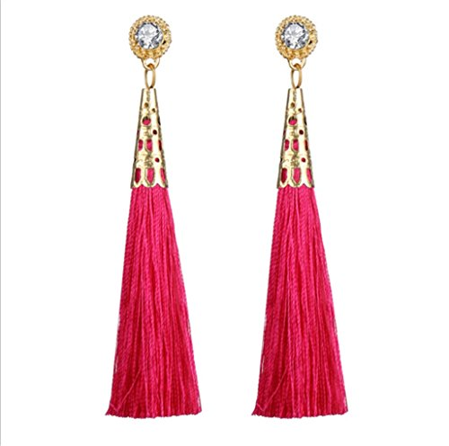 Female Fashion Earrings Bohemian Handmade Cotton Velvet Rope Long Tassel Ear Jewelry,Hot Pink