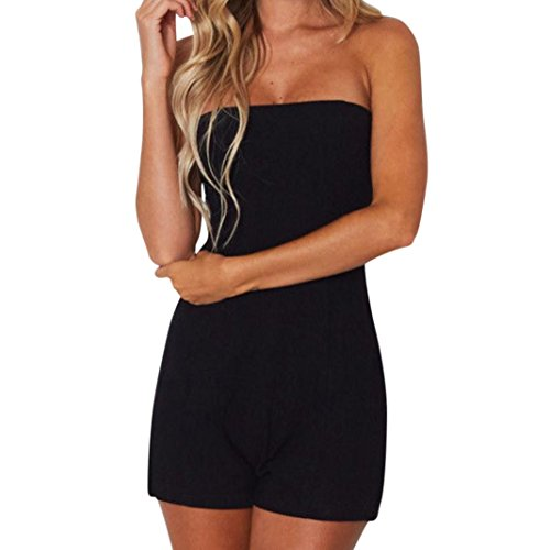 Price comparison product image Leewos Summer Beach Short Bodysuits,Women Sexy Bandage Backless Rompers Solid Off Shoulder Slim Waist Jumpsuits (XXL, Black)