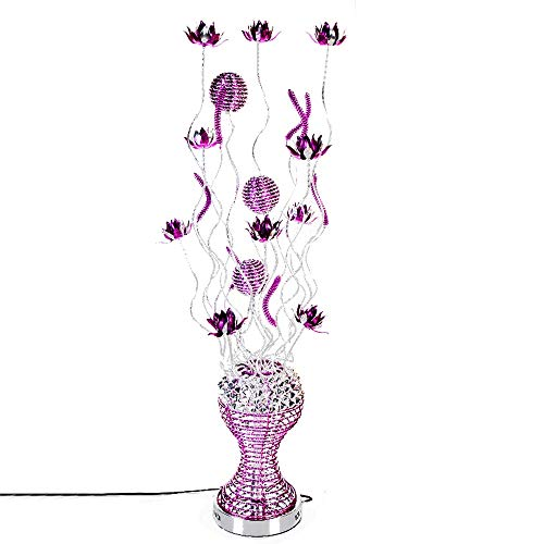 (Belief Rebirth Metal Vase Flower Design Exquisite Floor lamp Aluminum, Large - LED Table Lamp G4 Lamp Bead, Brushed Chrome Base Decorative Multifunctional Bed Lamp Purple Flower)
