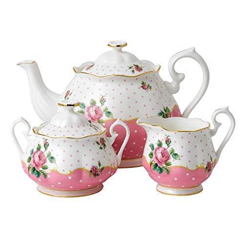 Royal Doulton 3-Piece New Country Roses Tea Party Cheeky  Set, Pink (Creamer Pink Flower)