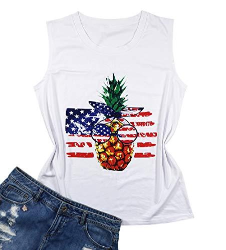 UNIQUEONE American Flag Stars Stripe Tank Tops Women Pineapple Tank Graphic Sleeveless Shirt Size S (White)