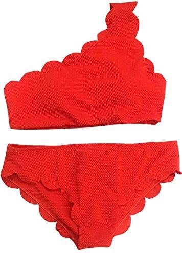 Traje de Baño YOGLY Conjunto de Bikini un Hombro Borde Ondulado de Split Bikini Traje de Baño Bikini de las Mujeres Bañador