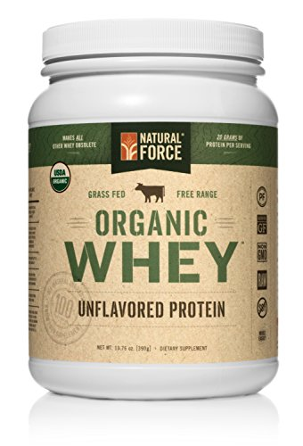Natural Force® Undenatured Organic Whey Protein Powder *UNFLAVORED* Grass Fed Whey from California Farms – Raw Organic Whey, Paleo, Gluten Free, Natural Whey Protein, 13.76 oz. Bulk