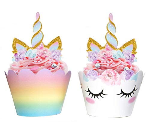 Unicorn Cupcake Decorations, Double Sided Toppers and Wrappers, Rainbow and Gold Glitter Decorations, Cute Girl's Birthday Party Supplies, 24 sets -- By Xeren Designs ()