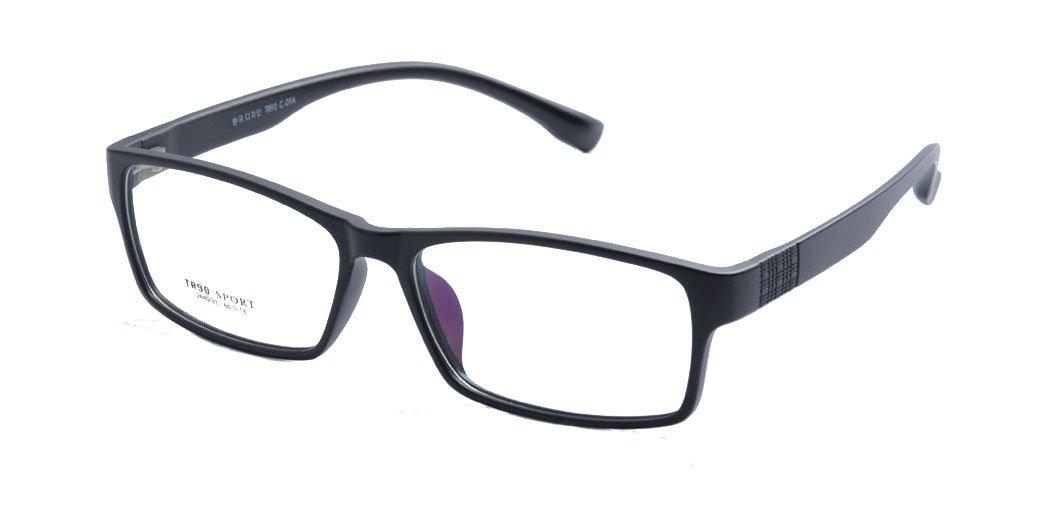 Deding Men Super Large Wide Oversized Full Frame Squaretr90 Glasses Frame Size 60-189-148mm (Matt Black)
