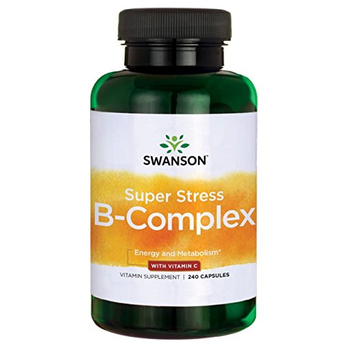 Swanson B Vitamin Stress Complex with Vitamin C, Stress Relief, Energy, Immune Health 500 mg 240 Capsules