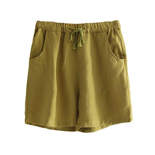 LvRaoo Pantaloncini in Lino di Cotone con Coulisse Pantaloni a Vita Alta da Donna Giallo