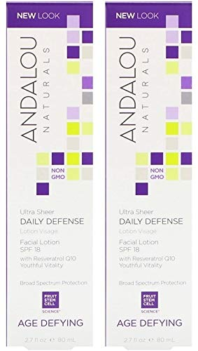 Andalou Naturals Ultra Sheer Daily Defense Facial Lotion SPF 18 (Pack Of 2) Aloe Vera, Chamomile, Calendula, Hibiscus, Tangerine and Bioactive 8 Berry Complex, 2.7 fl. oz. each (Spf 18 Natural)