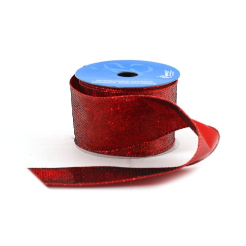 Berwick 2-1/2-Inch Wide by 10-Yard Spool Wired Edge Chicago Craft Ribbon, Red (Discontinued by Manufacturer) -