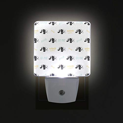 Dog Cavalier King Charles Spaniel LED Night Lights with Dusk to Dawn Sensor, Plug-in Lamp for Hallway Bathroom Kitchen, 2-Pack