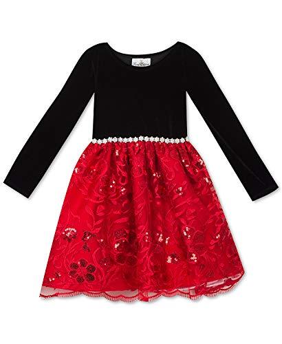 Rare Editions Little Girls Velvet & Embroidered-Mesh Dress (Black, 6)