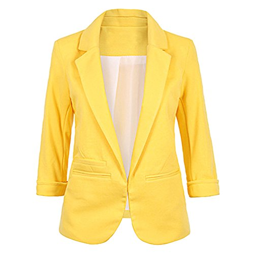 SEBOWEL Ladies Rolled Up 3/4 Sleeve Open Front Work Blazers Jacket Suit Yellow L