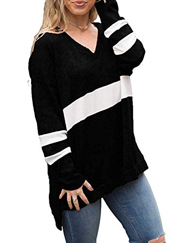 - KISSMODA Women V Neck Striped Blouse Chunky Sweatshirts High Low Tunic Tops Black M