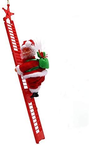 Escalera de escalada de Papá Noel Eléctrica de Santa Claus para escalada de cuerda de escalar, de Navidad, juguete de peluche para adorno de árbol de ...
