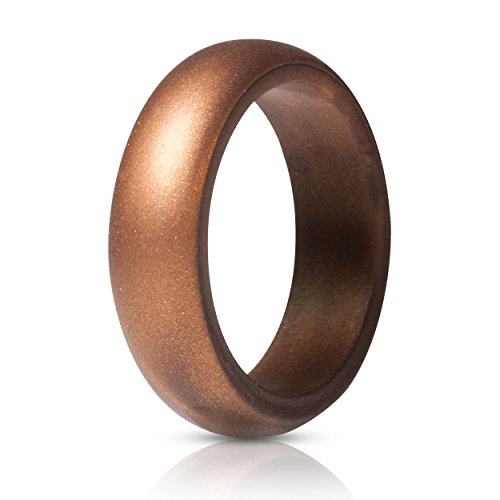 (ThunderFit Silicone Rings, Single Ring Wedding Bands for Women - 5.5 mm Wide (Bronze, 6.5-7)