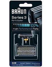 Braun Ersättningshuvud för Rakapparat, Kompatibel med Serie 3 30B, Svart