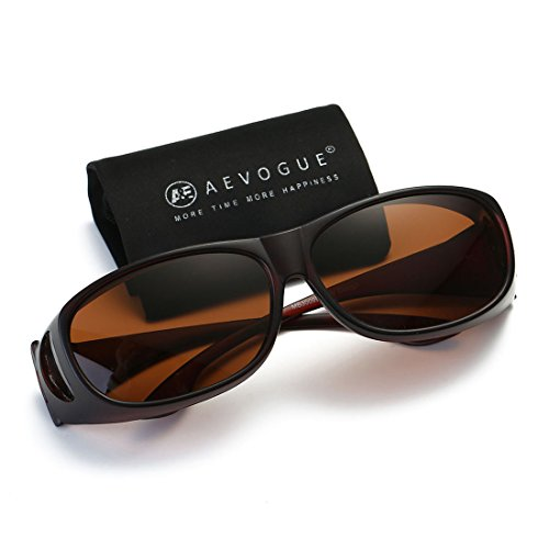 AEVOGUE Polarized Sunglasses Mens Over-The-Glass Unisex Prescription Safety Glasses AE0509 (Brown, ()