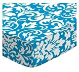 SheetWorld Crib Sheet Set - Turquoise Damask - Made In USA